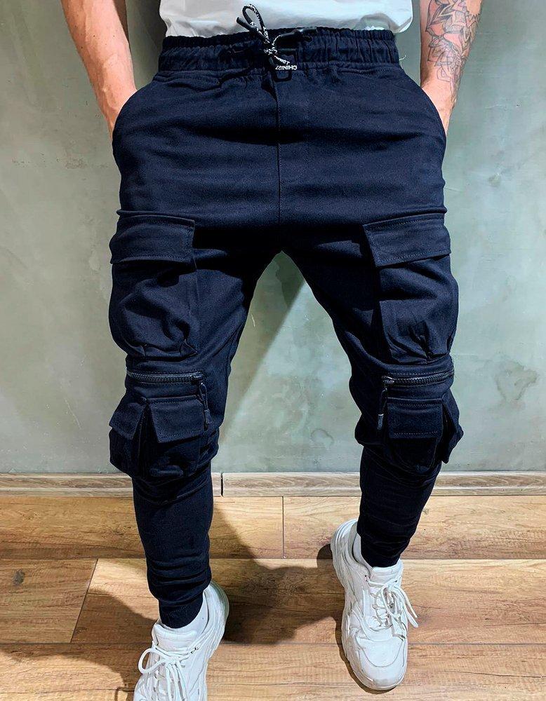 Spodnie męskie bojówki joggery granatowe UX2642