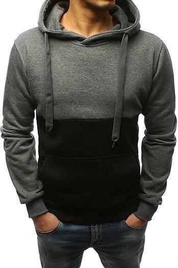 Bluza męska z kapturem antracytowo czarna BX3795