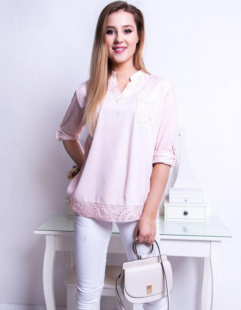 Bluzka damska LADY pudrowy róż (ry0623)