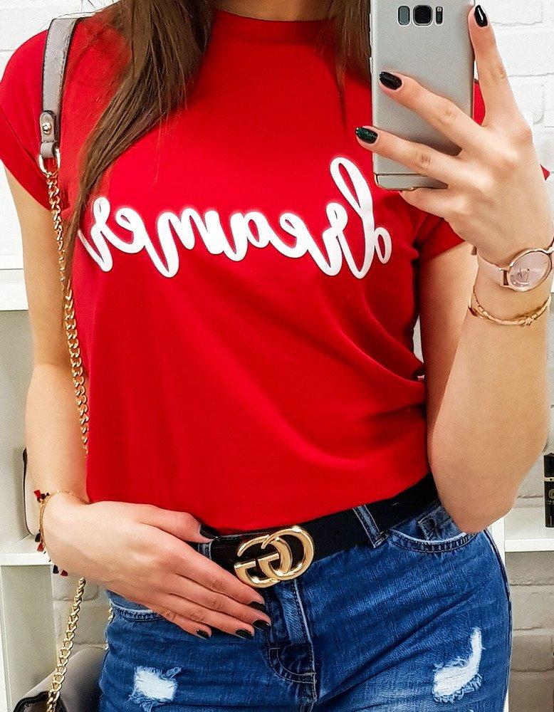 T-shirt damski DREAMER PREMIUM czerwony (ry0694)