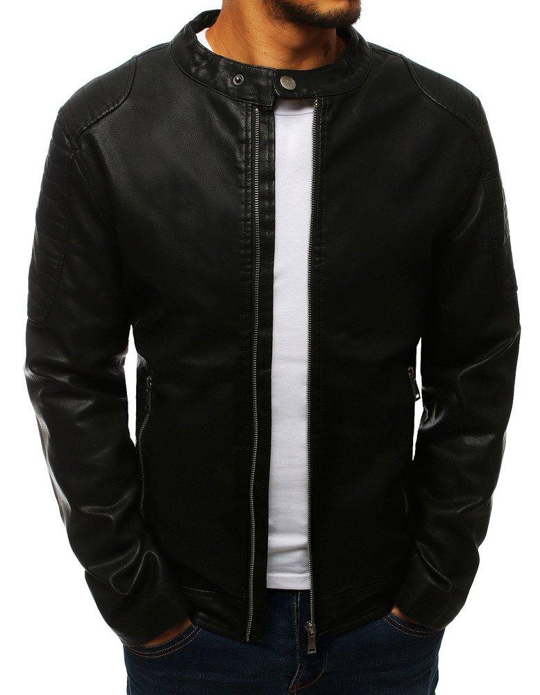 Koženková pánska čierna bunda (tx2708)