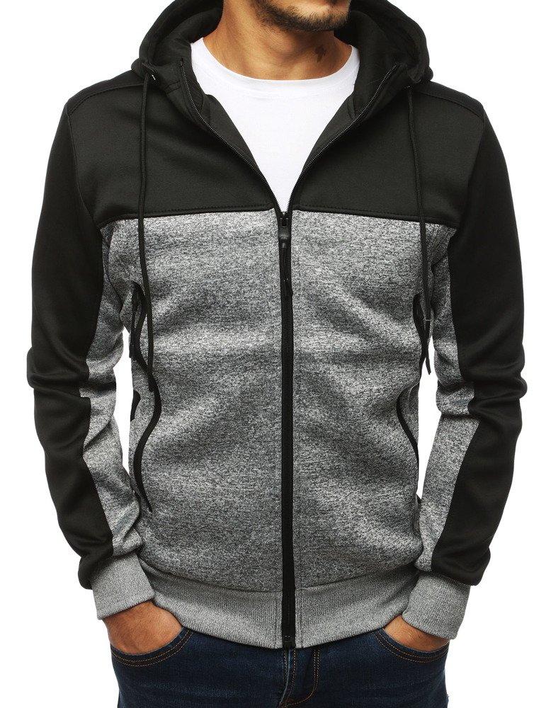 Bluza męska rozpinana z kapturem czarna BX4116