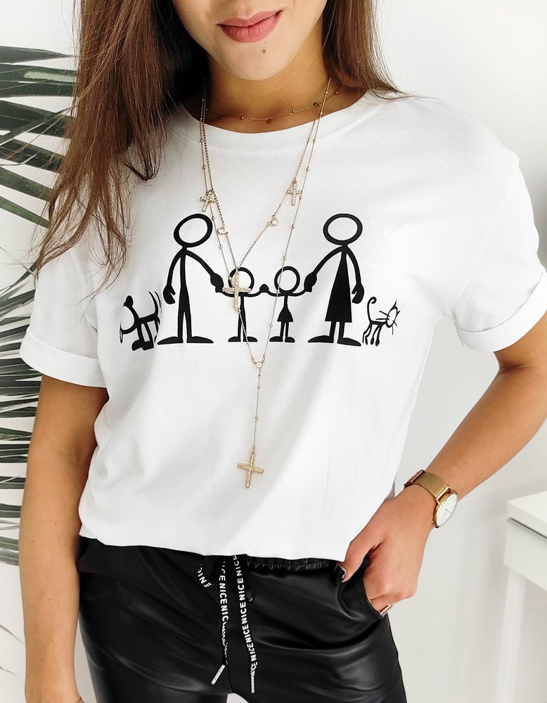 T-shirt damski FOLKS biały RY1514