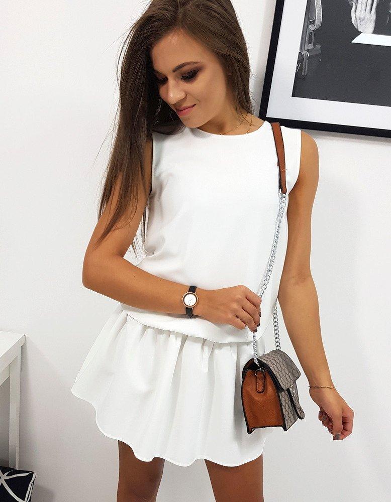 Sukienka bez rękawów PREMIUM biała (ey0898)