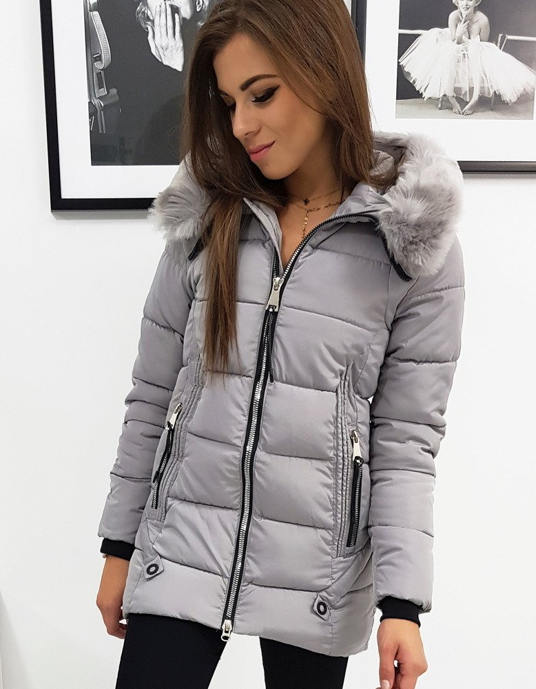 Dámska zimná prešívaná bunda šedá