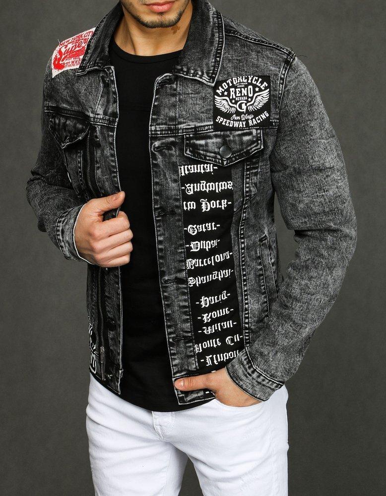 Tmavo šedá pánska džinsova bunda