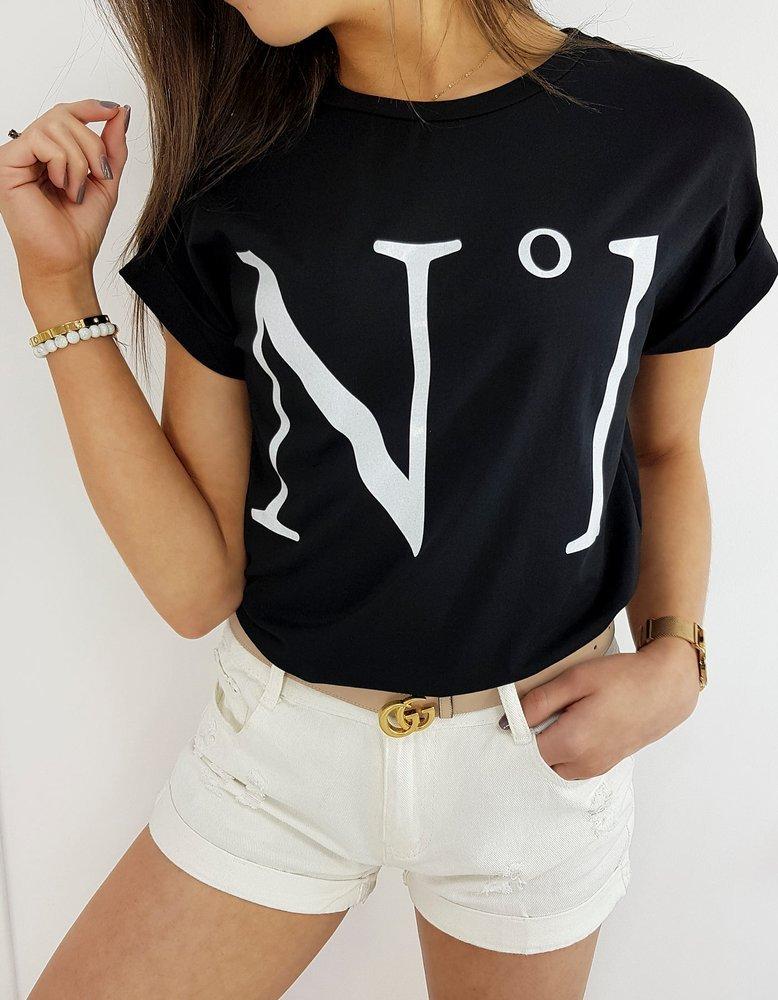 T-shirt damski NUMBER ONE czarny RY1388