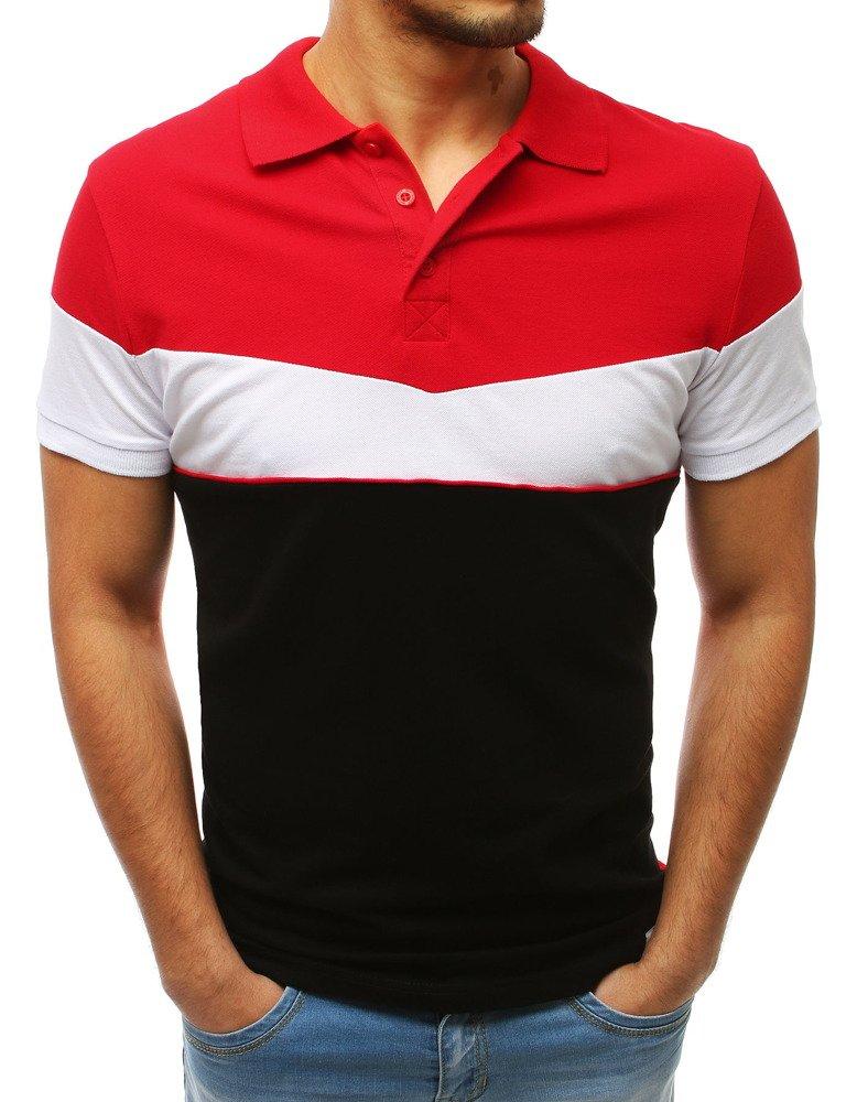 Koszulka polo męska czarno-czerwona PX0169
