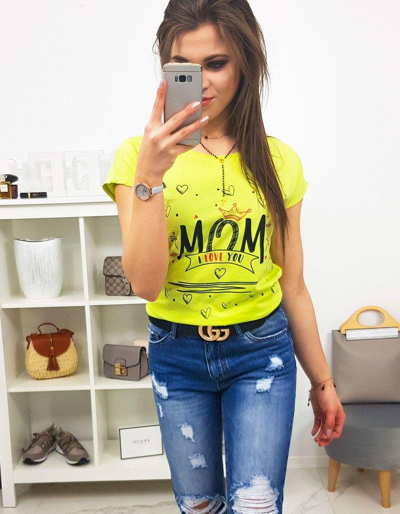 T-shirt damski MOM z nadrukiem limonkowy (ry0790)