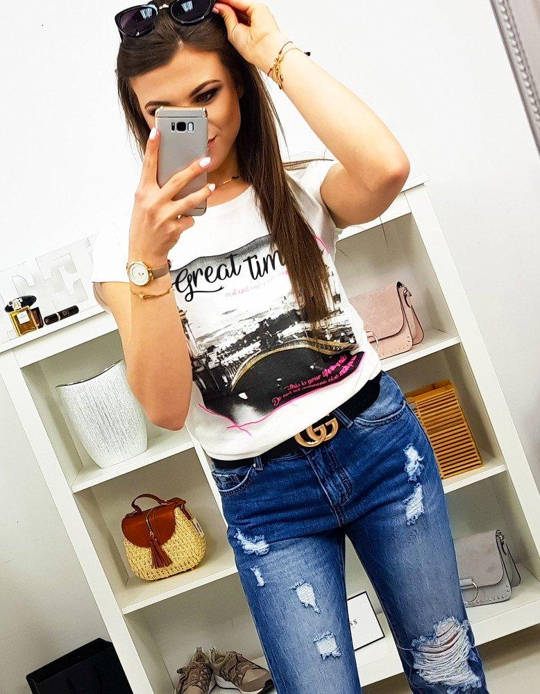 T-shirt damski GREAT TIMES z nadrukiem śmietankowy RY0972