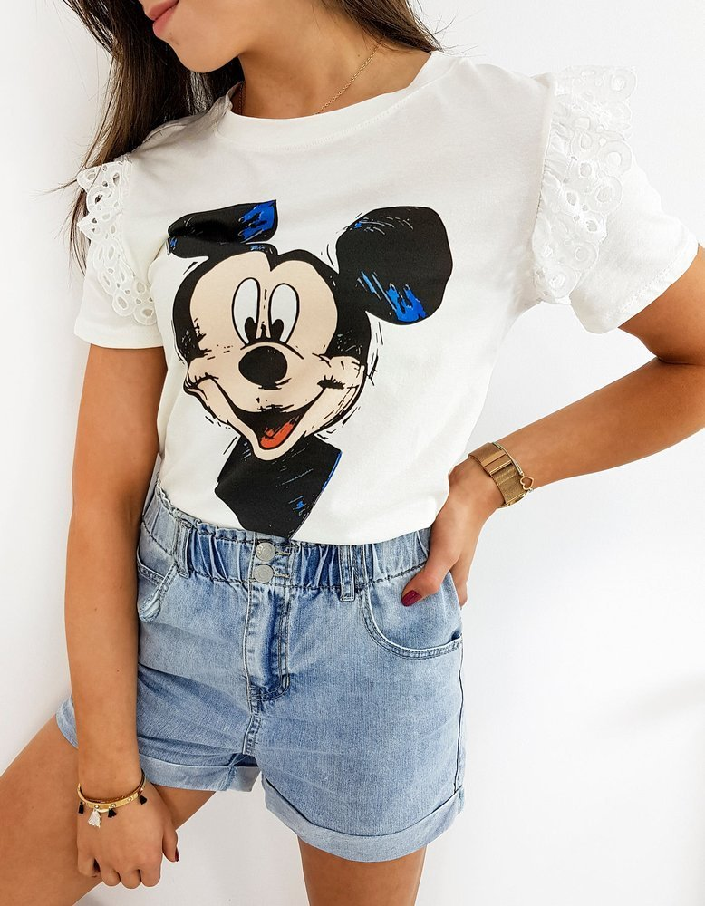 T-shirt damski MICKY CLASSIC ecru RY1422