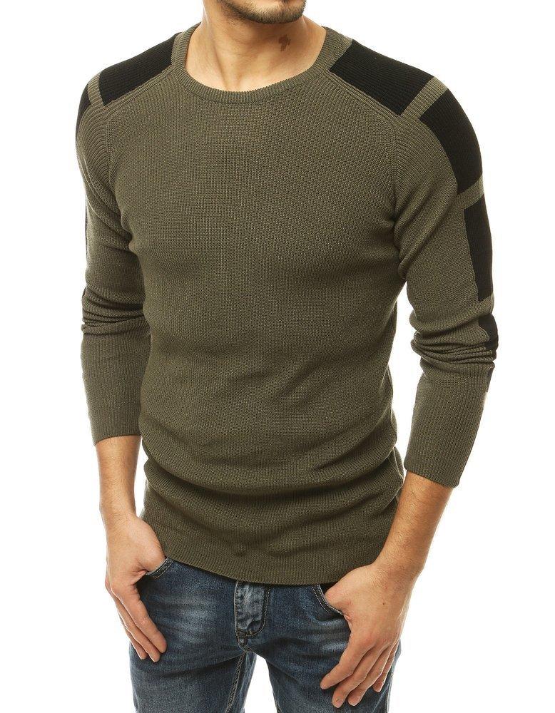 Pánsky trendový khaki sveter.