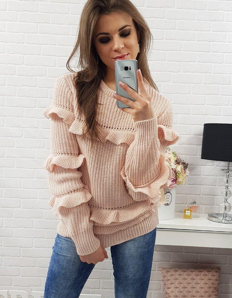 Ružový dámsky sveter (my0234)