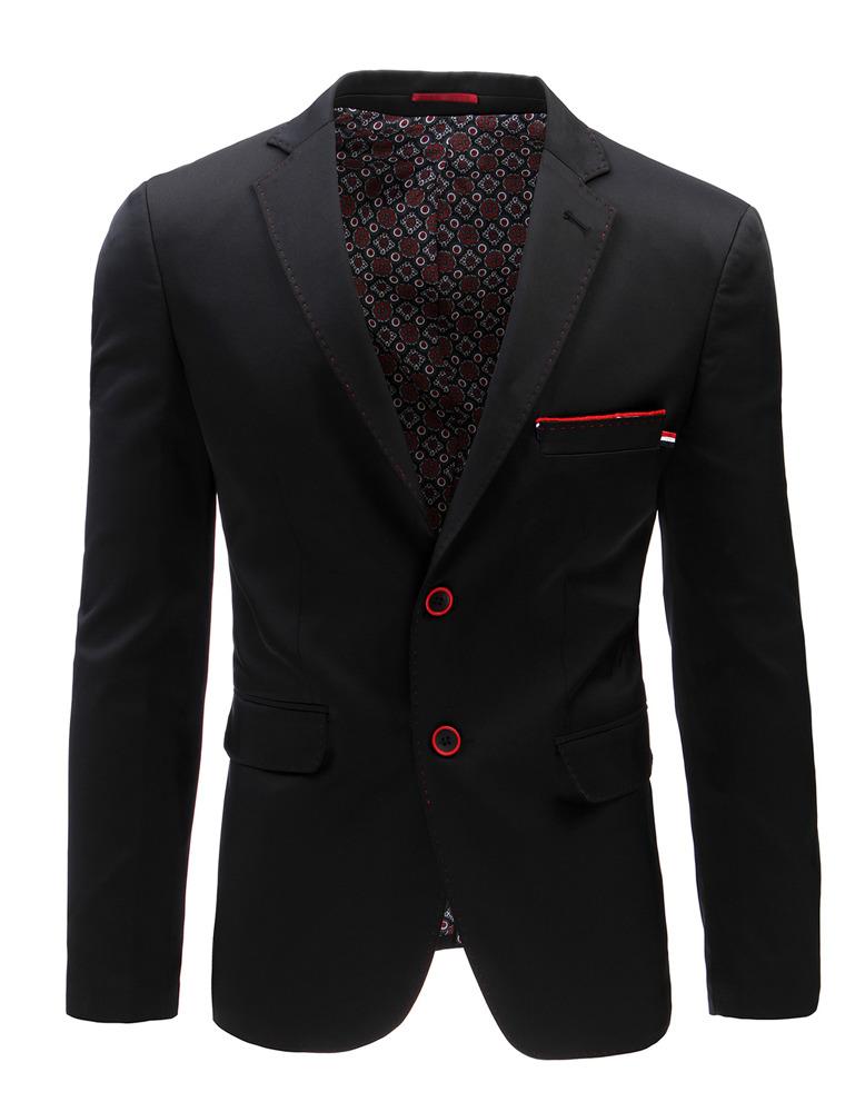 Pánske čierne jednoradové sako (mx0367)