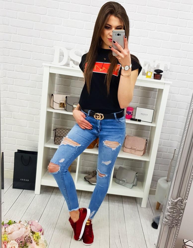 Spodnie damskie jeansowe niebieskie (uy0178)