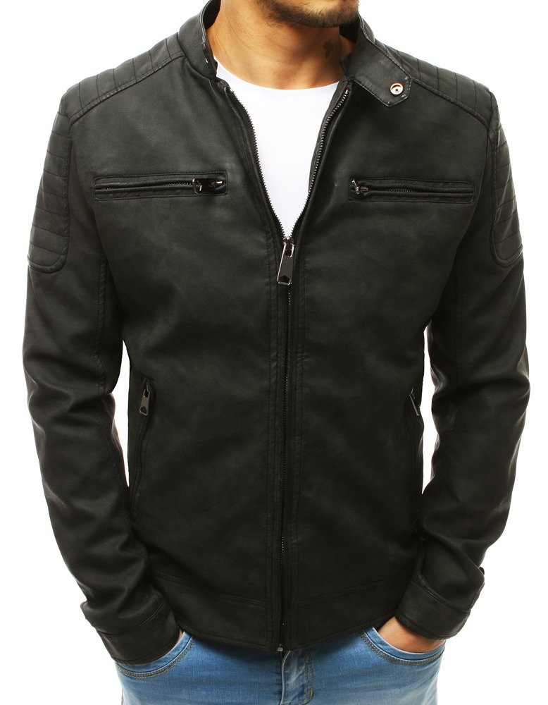 Čierna koženková bunda (tx2655)