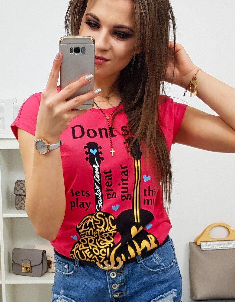 T-shirt damski DONT STOP z nadrukiem malinowy (ry0797)