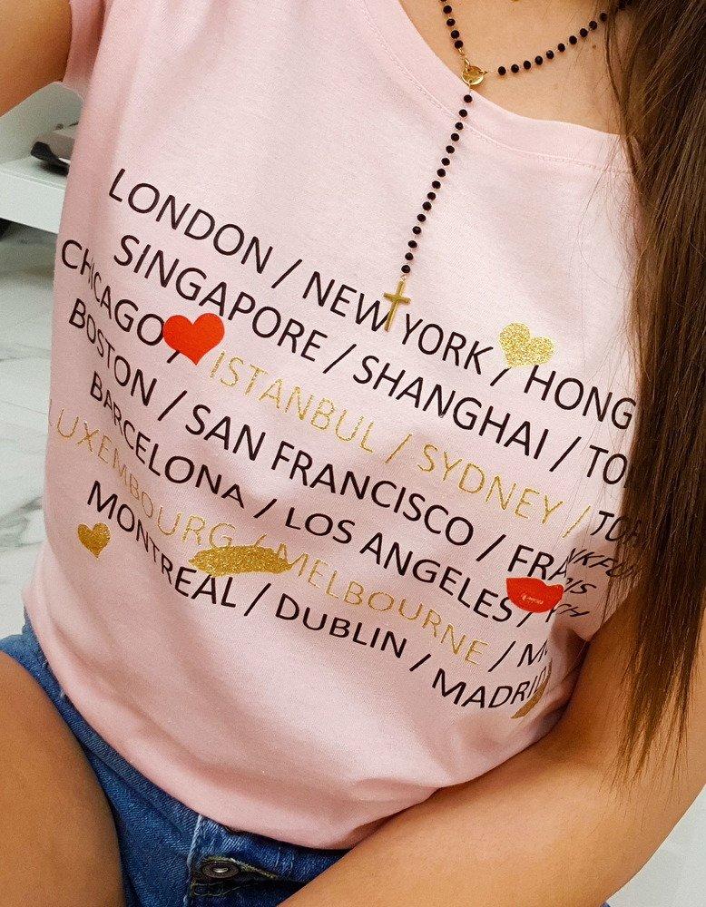 T-shirt damski CITY z nadrukiem pudrowy róż (ry0882)