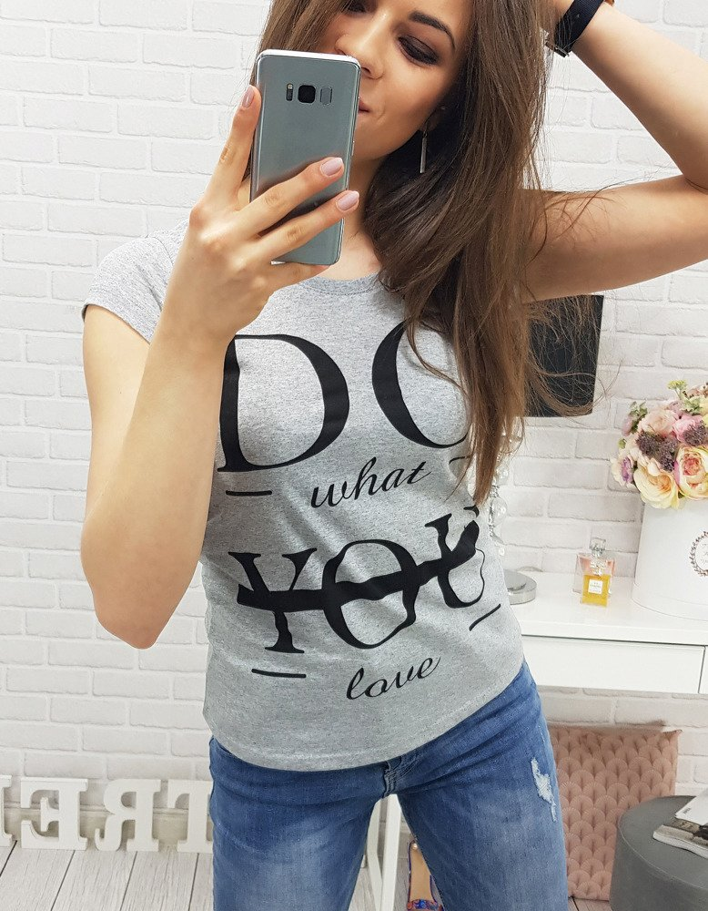 Praktické šedé dámske tričko (ry0327)