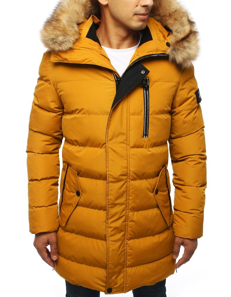 Pánska prešívaná zimná bunda  žltá