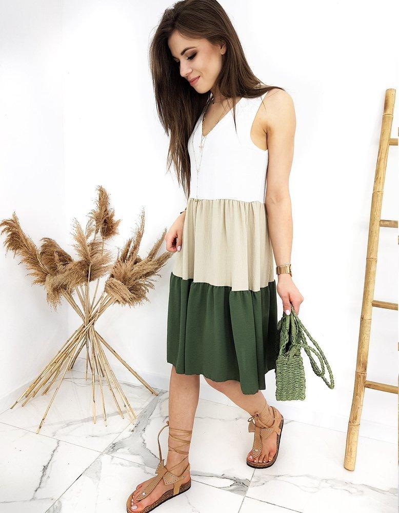 Pekné khaki dámske šaty TRIOSET EY1308