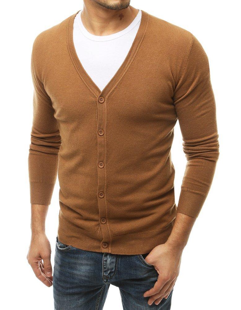 Pánsky camelový sveter na zapínanie WX1539