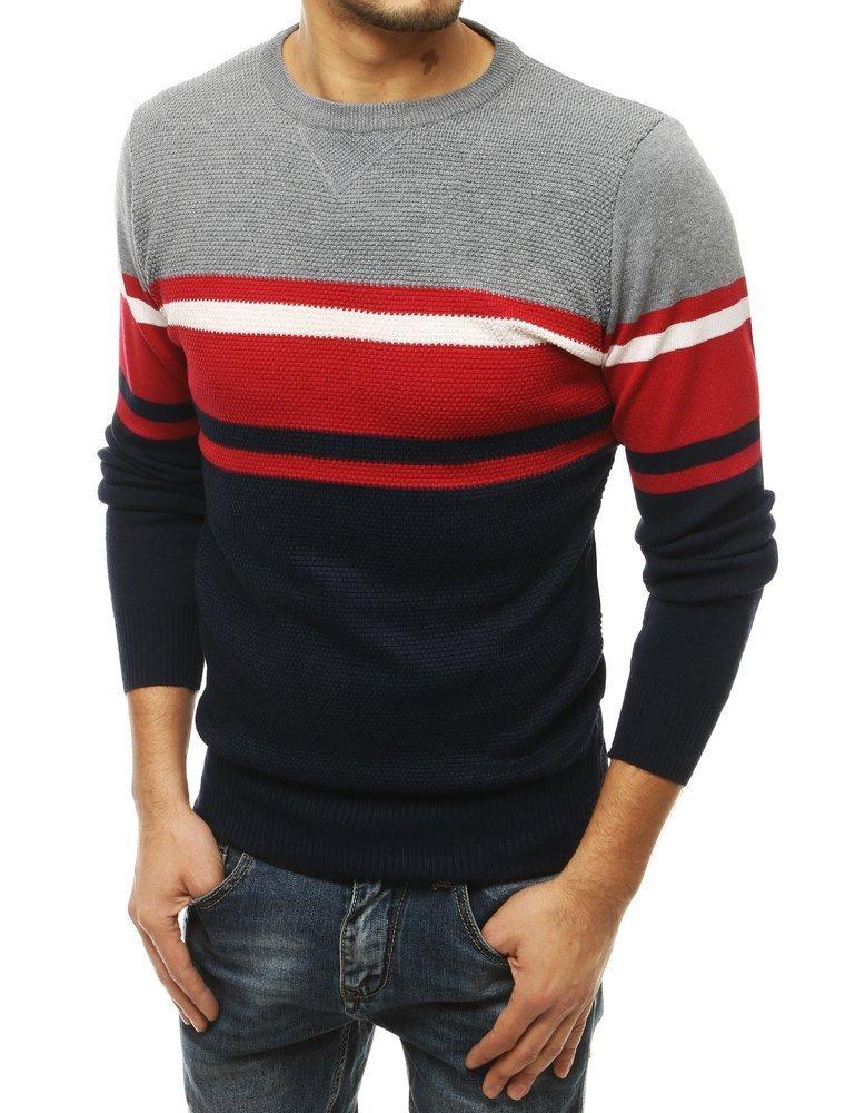 Pánsky granátový sveter s pruhmi.