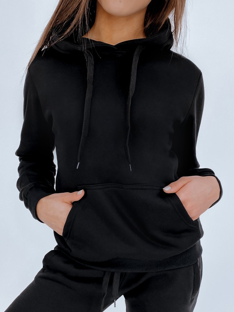 Bluza damska BASIC z kapturem czarna BY0158