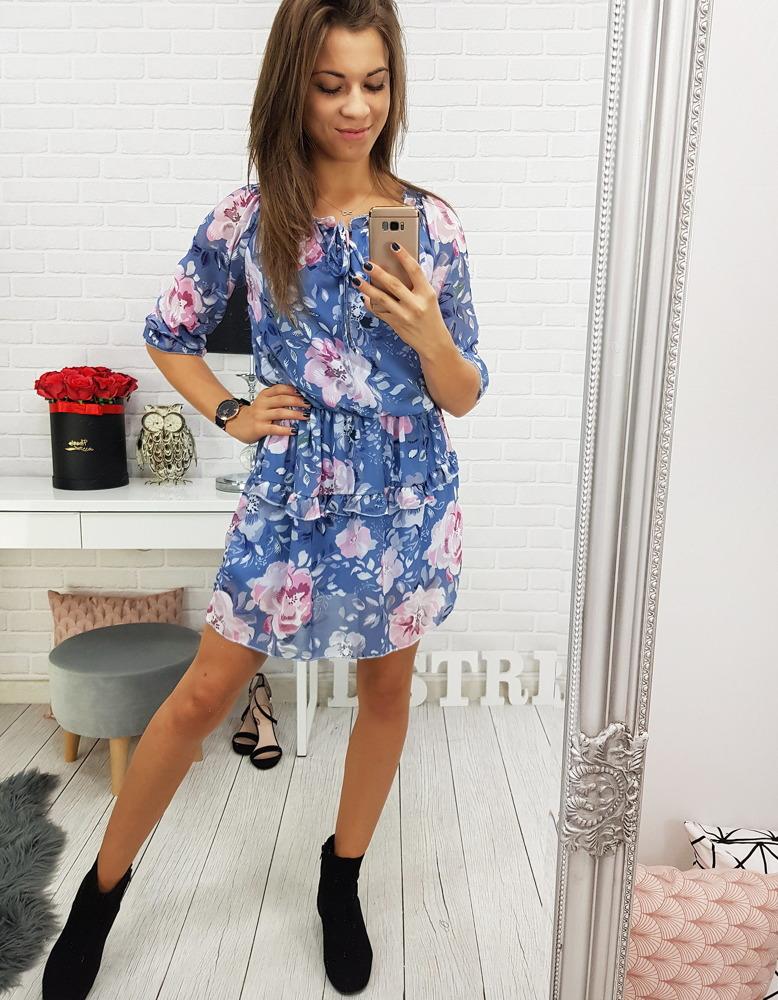 Modré dámske šaty s kvietkami (ey0481)