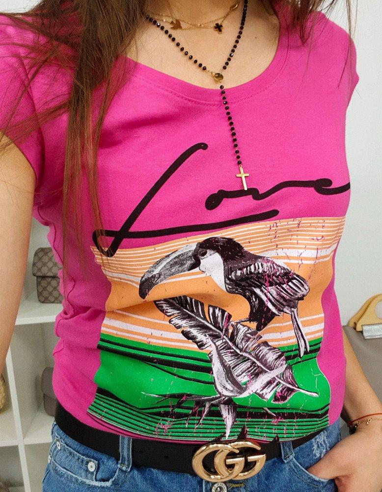 T-shirt damski PELIKAN z nadrukiem różowy (ry0756)