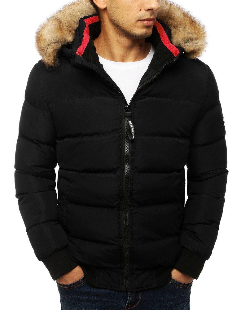 Pánska zimná prešívaná bunda s kapucňou čierna