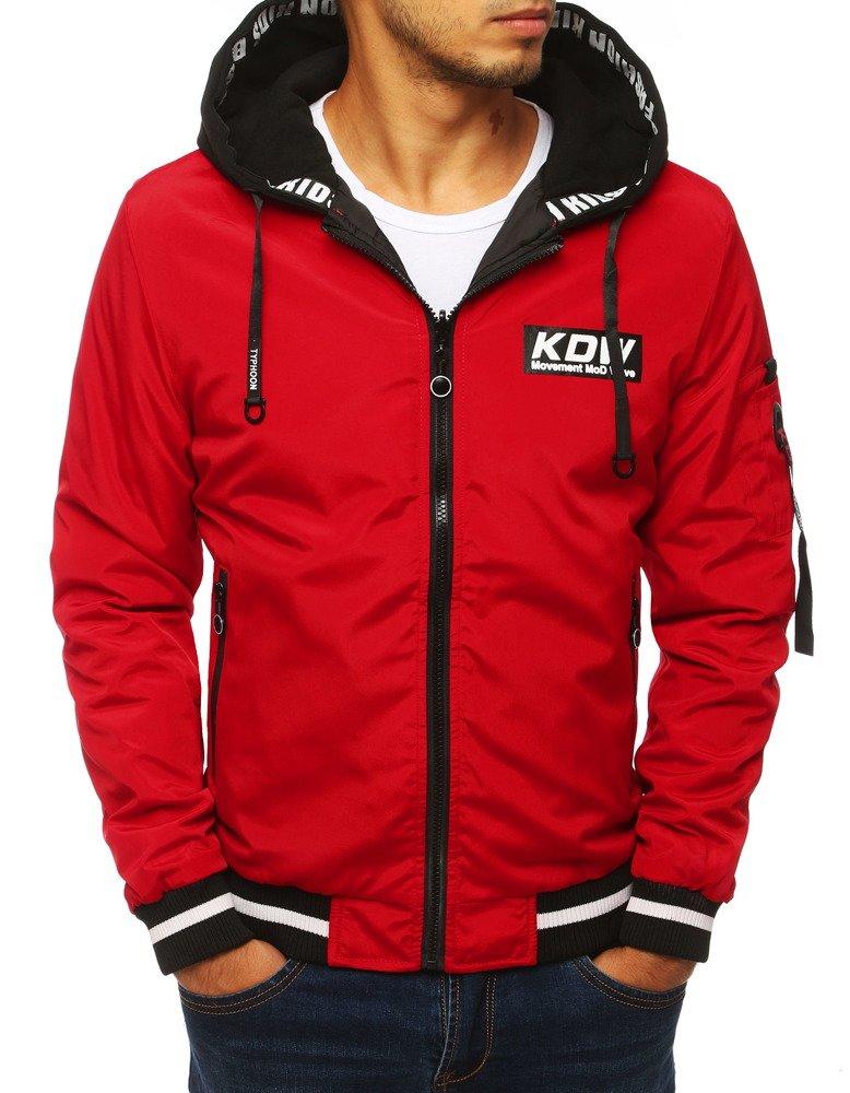 Obojstranná bunda červená s kapucňou