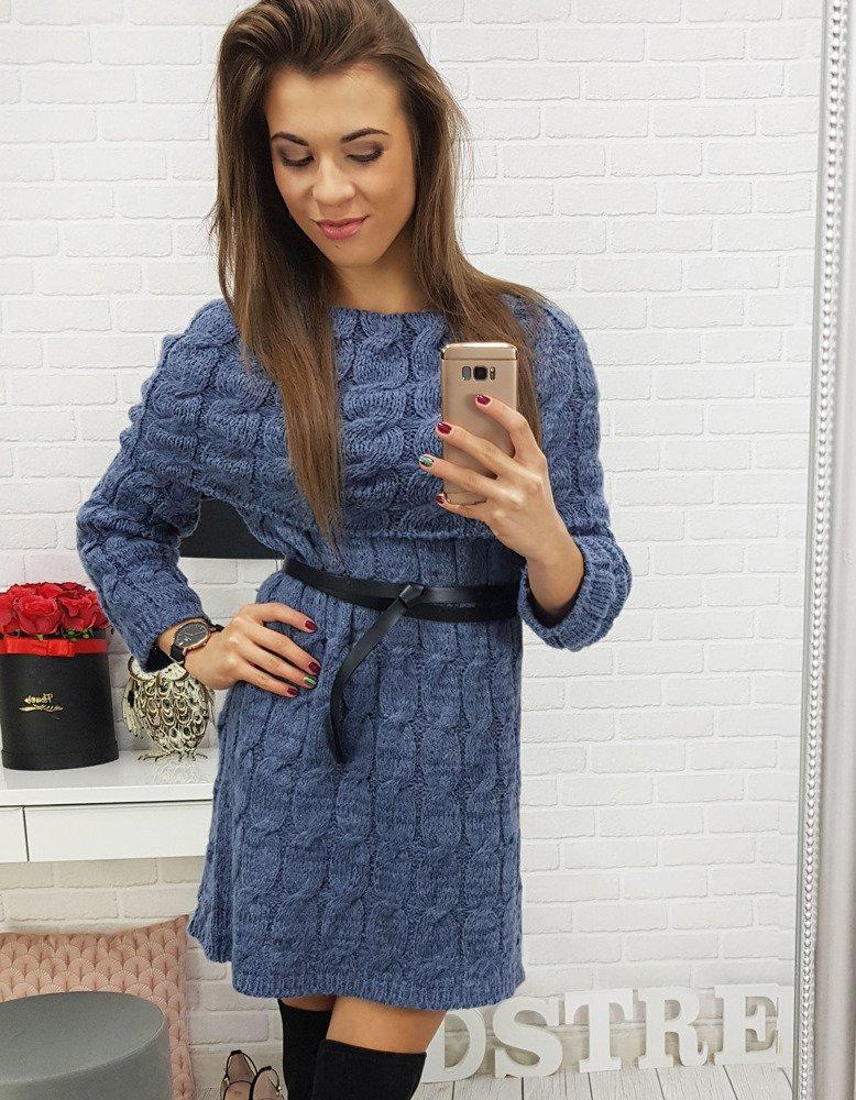 Modré pletené šaty (ey0546)
