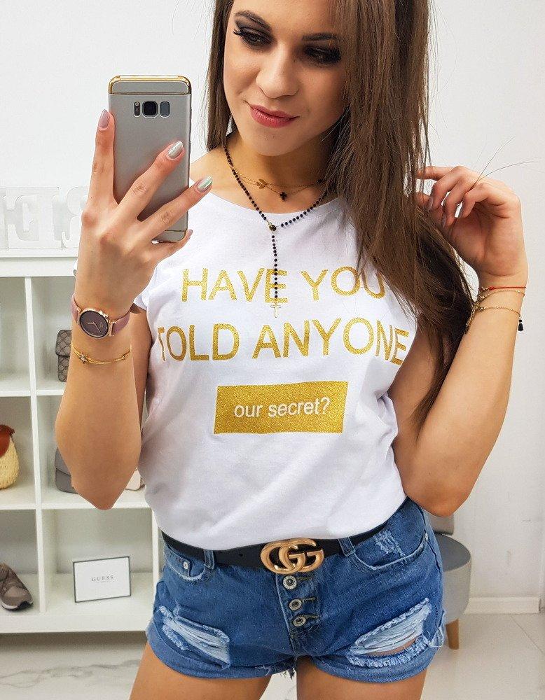T-shirt damski SECRET z nadrukiem biały RY0831