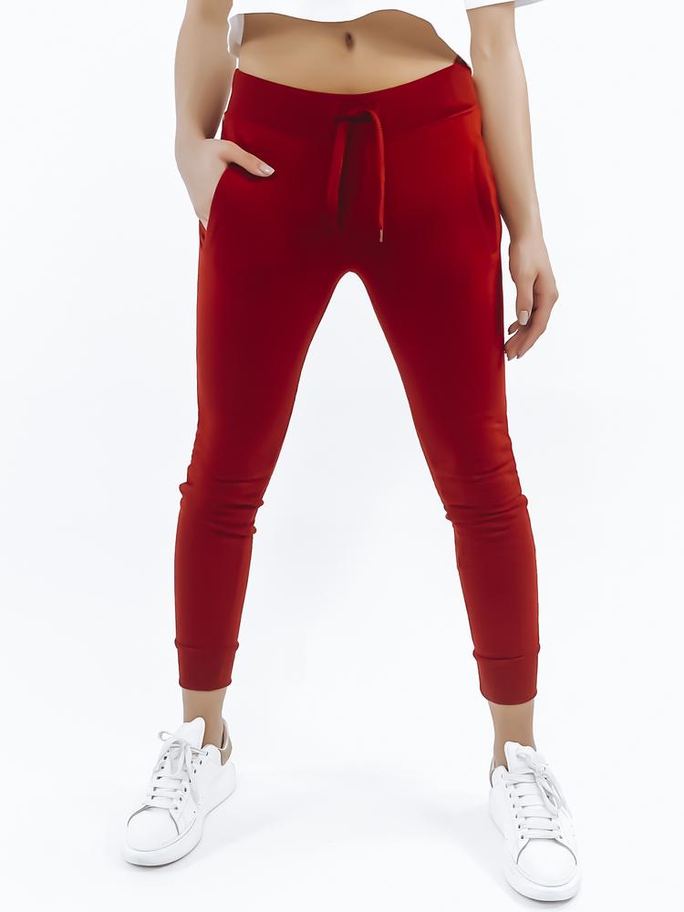 Spodnie dresowe FITT damskie czerwone UY0537