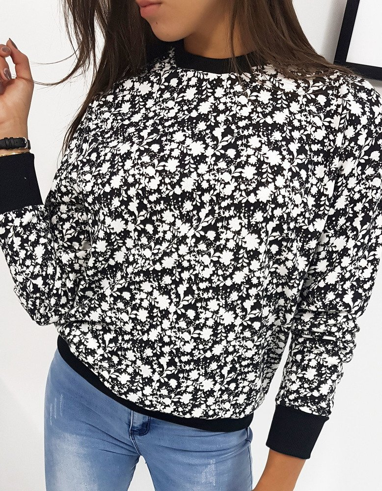 Bluza damska FLOWER czarna BY0201