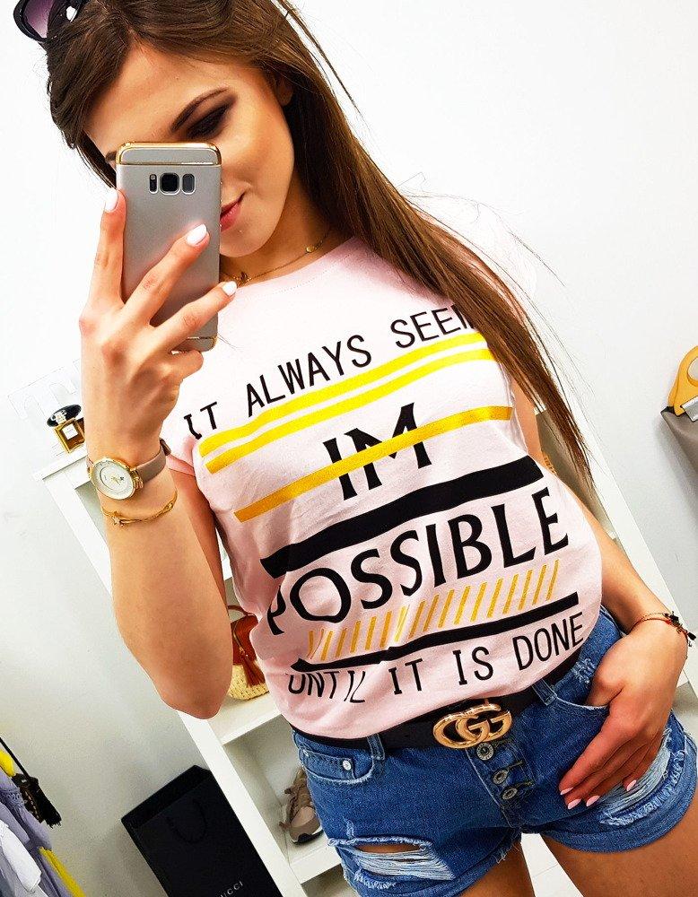 T-shirt damski POSSIBLE z nadrukiem pudrowy róż (ry0932)