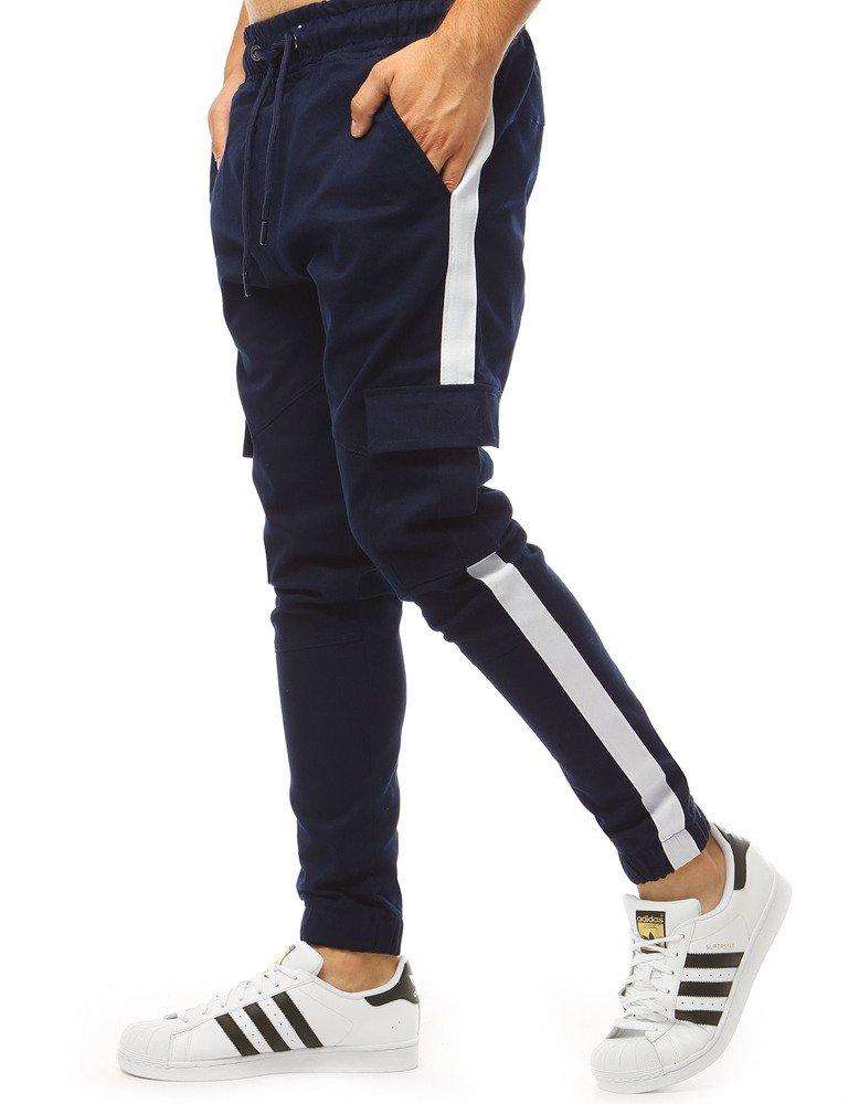 Tmavě modré pánské tepláky jogger (ux1998)