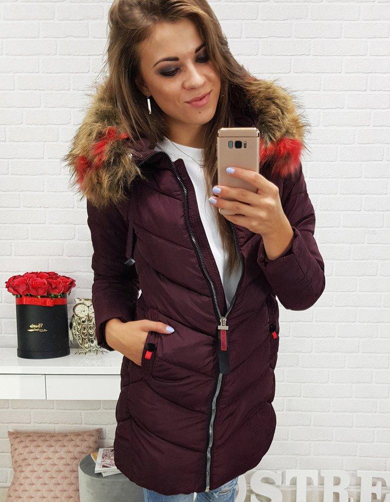 Bordová dámska zimná bunda (ty0285)