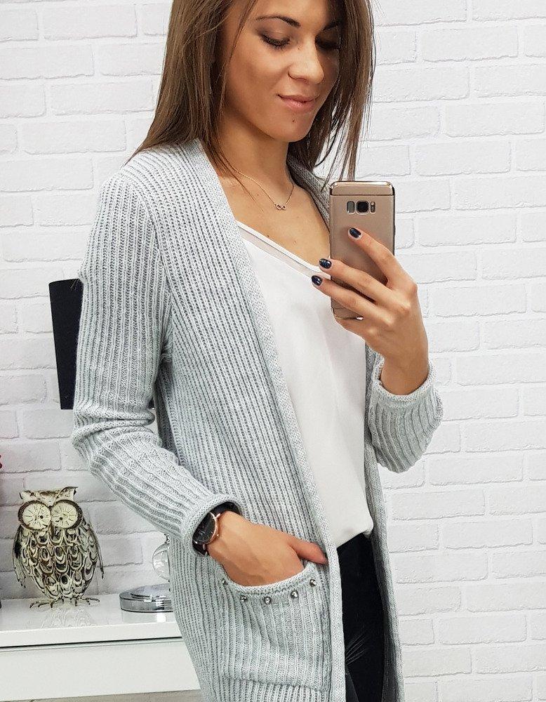 Dlhý dámsky sveter šedej farby (my0298)