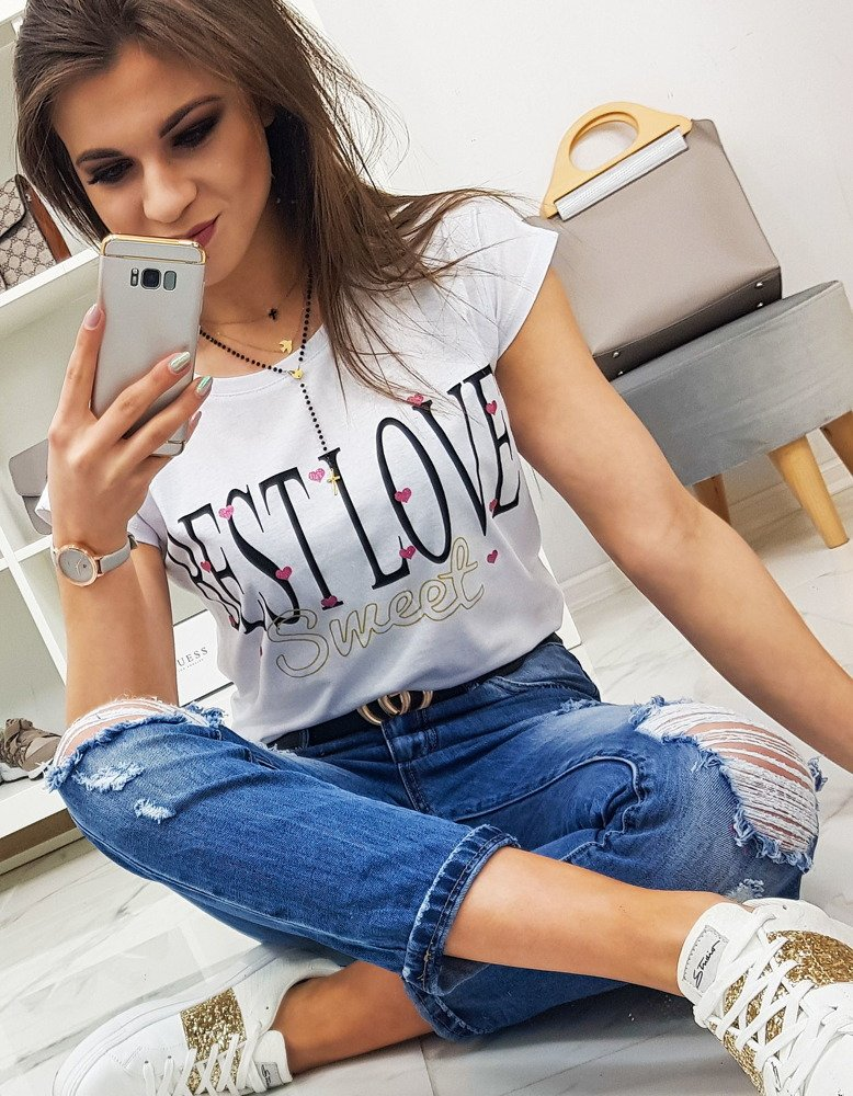 T-shirt damski BEST LOVE z nadrukiem biały RY0851