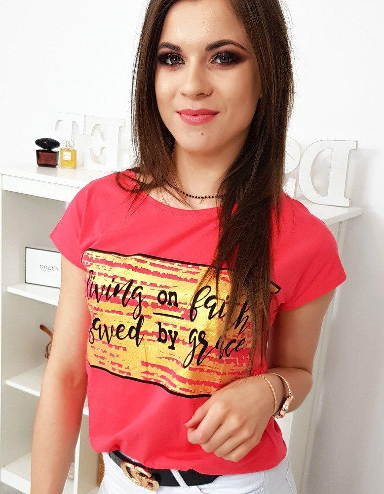 Malinové dámske tričko s krátkym rukávom (ry1042)