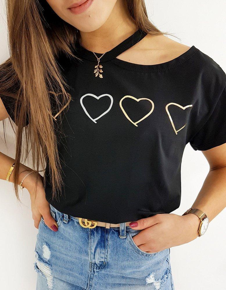 T-shirt damski FOURLOVE czarny RY1405