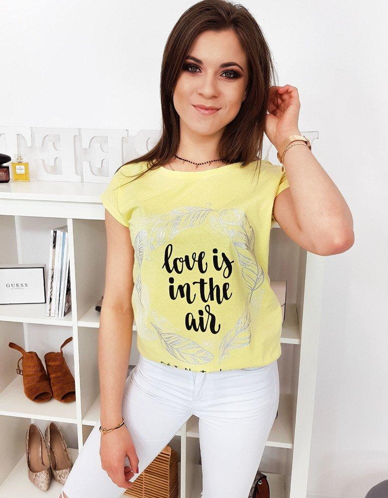 Bavlnené citrónovo-žlté dámske tričko (ry1053)
