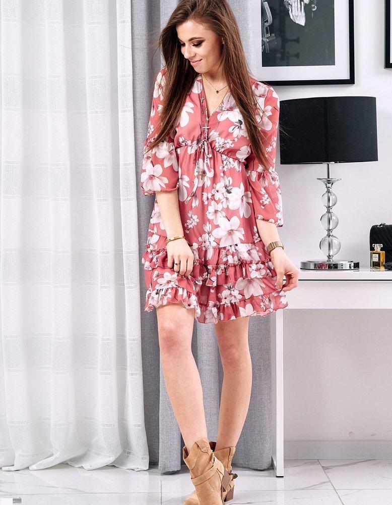 Broskyňovo-ružové dámske šaty ANGELLO EY1107