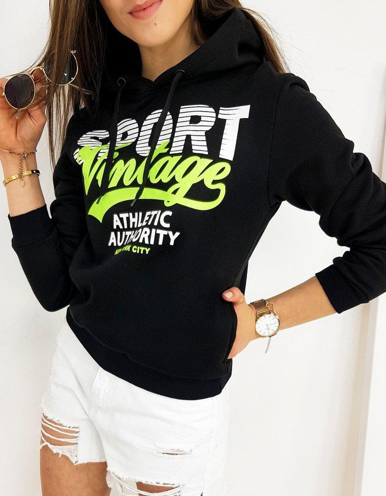 Bluza damska z kapturem VINTAGE czarna BY0417