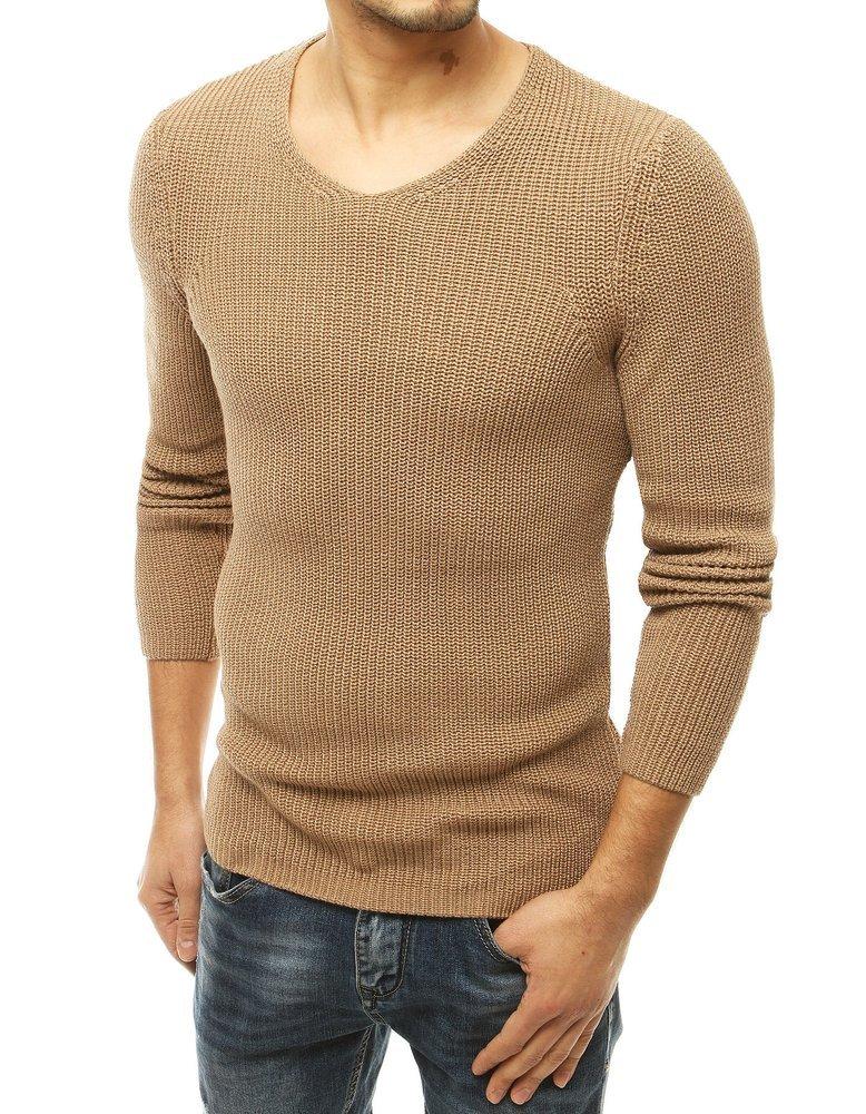 Pánsky béžový sveter v jednoduchom prevedení.