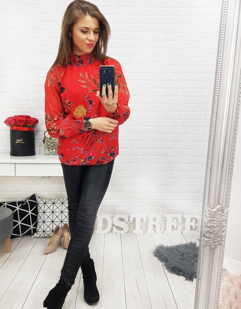 Czerwona bluzka damska IVETTE we wzory (ry0558)