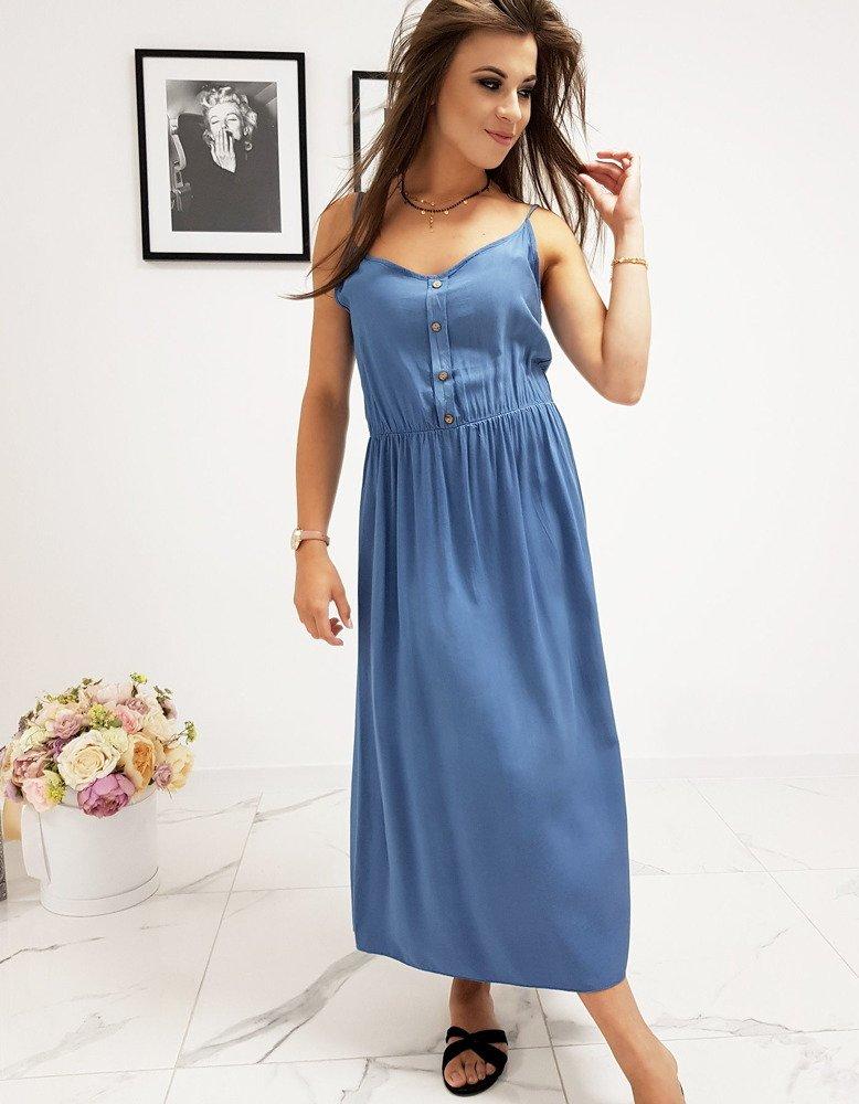 Pohodlné modré dámske šaty (ey0972)