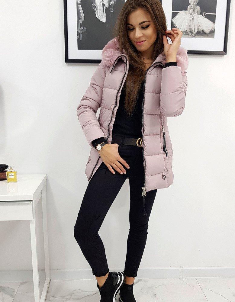Dámska zimná prešívaná bunda ružová